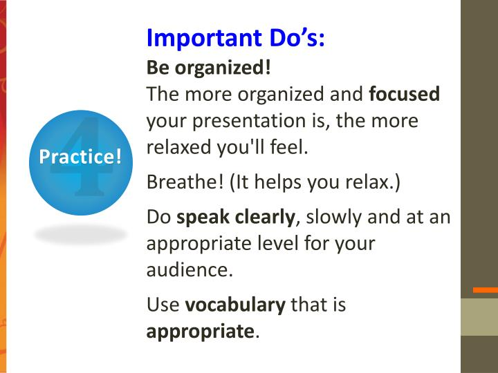 Important Do's: