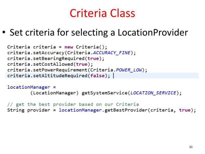 Criteria Class