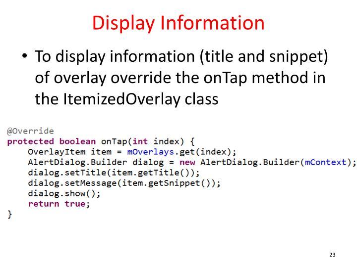 Display Information