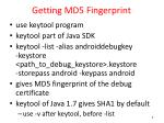 getting md5 fingerprint