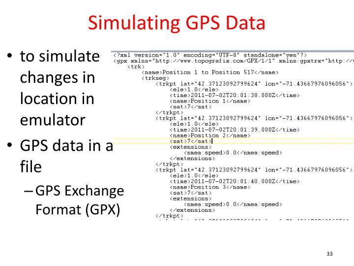 Simulating GPS Data