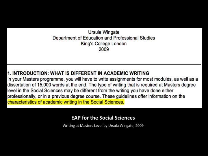 EAP for the Social Sciences
