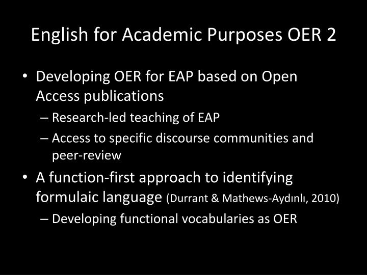 English for Academic Purposes OER 2