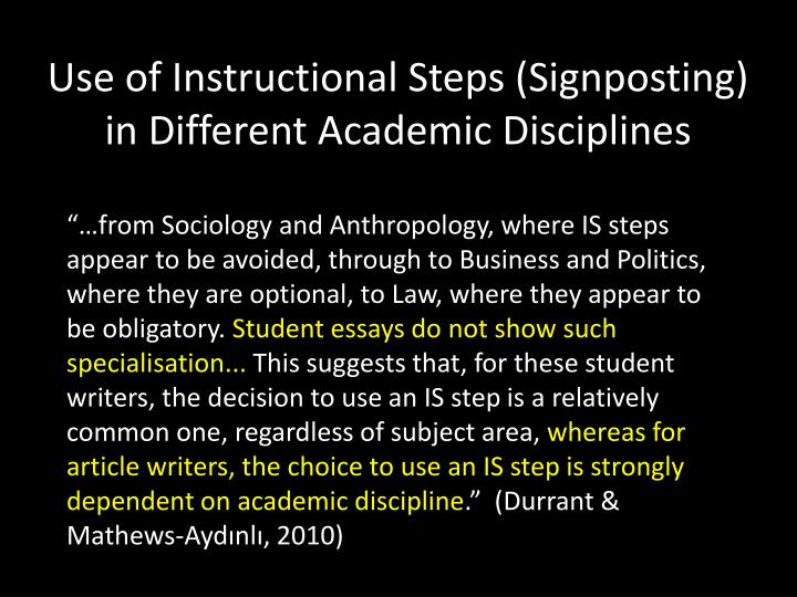 Use of Instructional Steps (Signposting) in Different Academic Disciplines