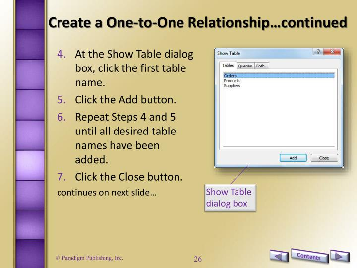 Create a One-to-One Relationship…continued