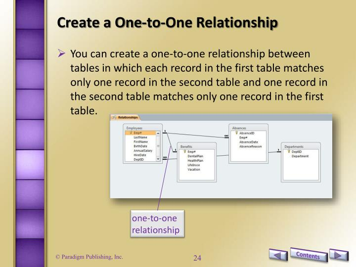 Create a One-to-One Relationship