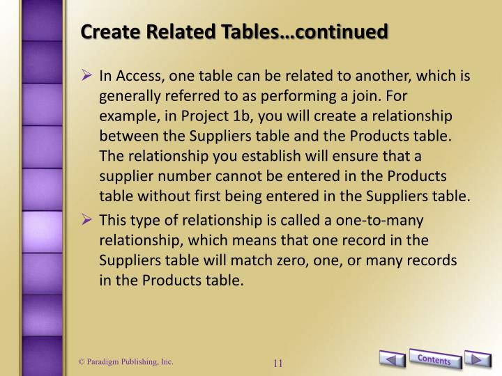 Create Related Tables…continued