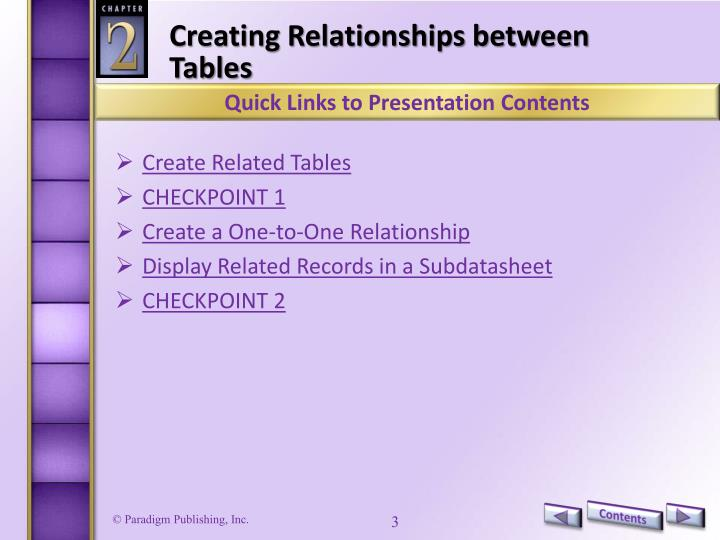Creating Relationships between Tables