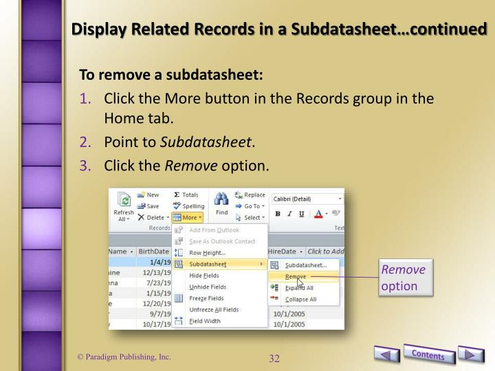 Display Related Records in a Subdatasheet…continued