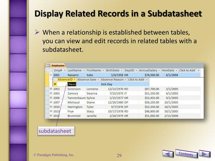 Display Related Records in a Subdatasheet