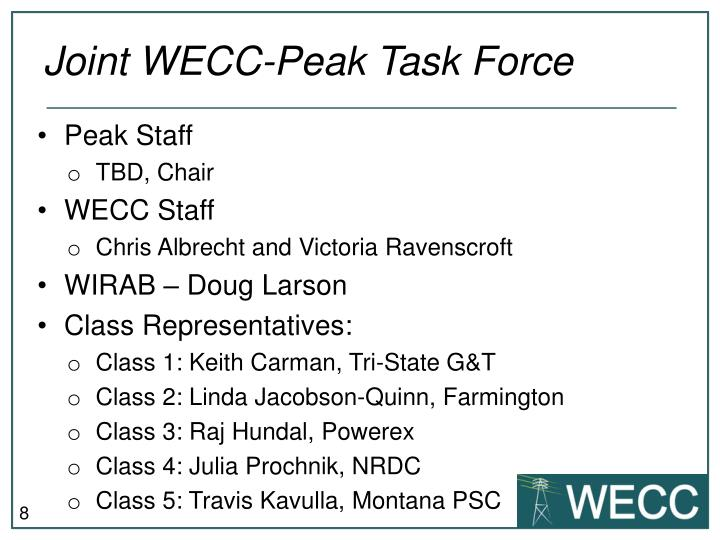 Joint WECC-Peak Task Force