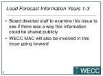 load forecast information years 1 3