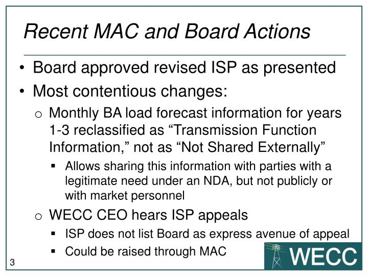 Recent mac and board actions