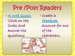 pre post readers