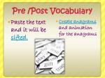 pre post vocabulary