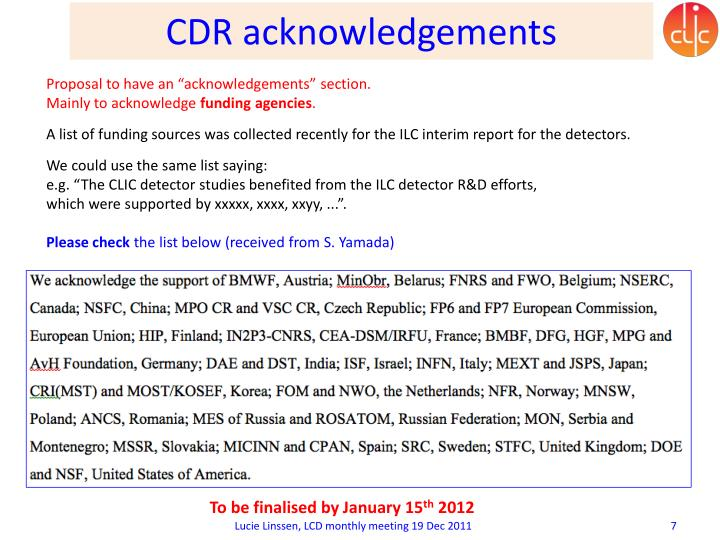 CDR acknowledgements