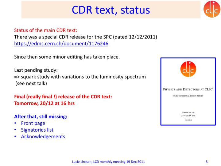 Cdr text status