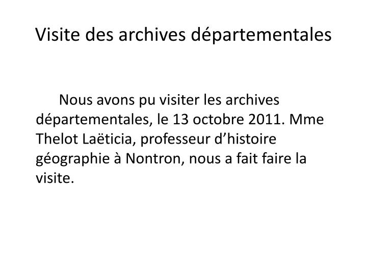 Visite des archives départementales