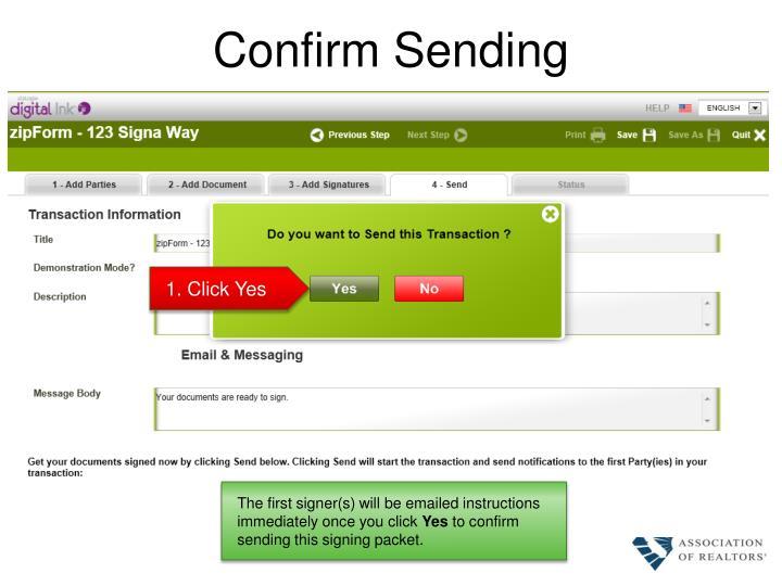 Confirm Sending