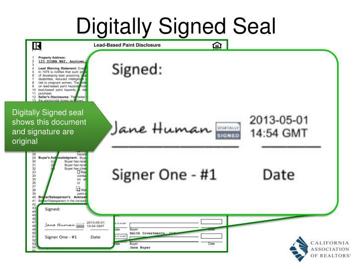 Digitally Signed Seal