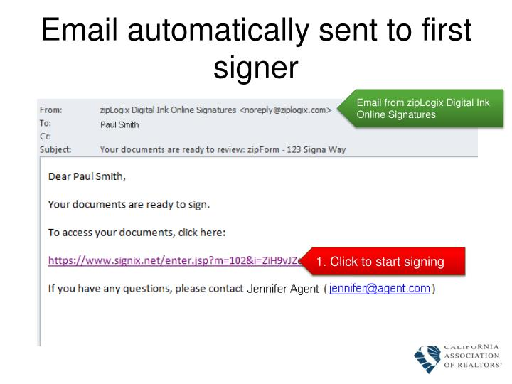 Email automatically sent to first signer