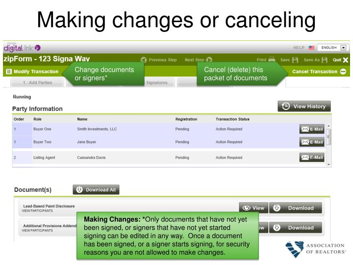 Making changes or canceling