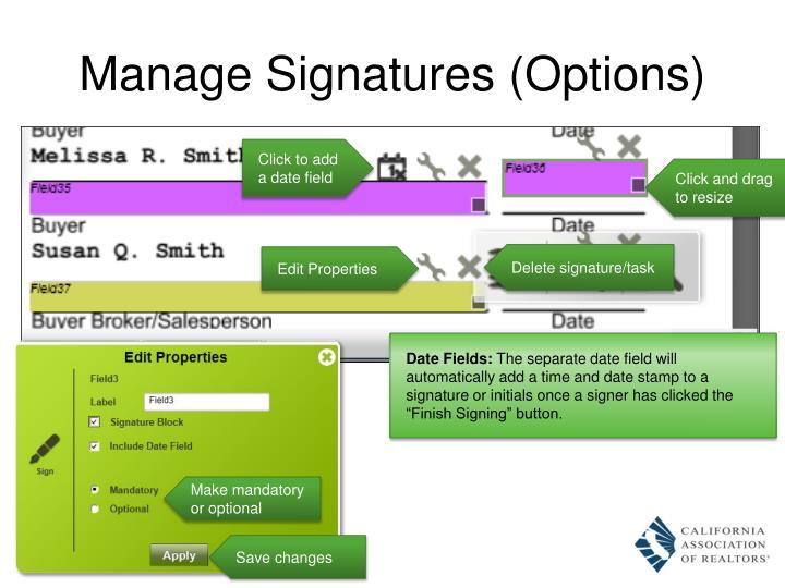 Manage Signatures (Options)
