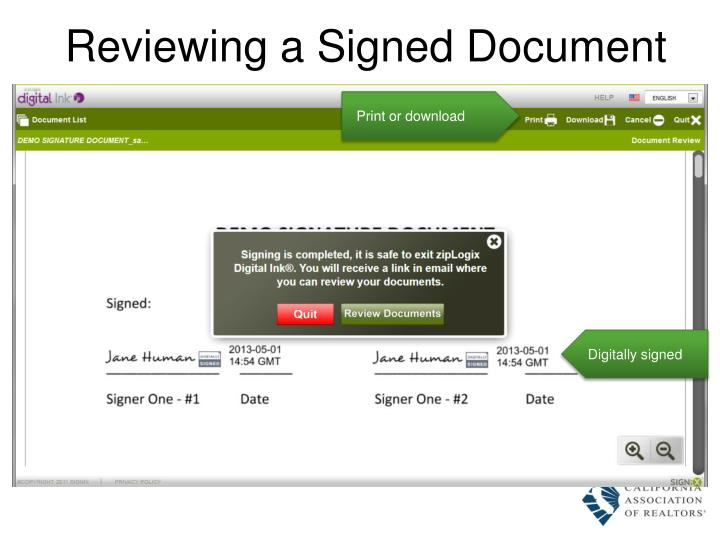 Reviewing a Signed Document
