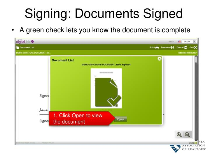 Signing: Documents Signed