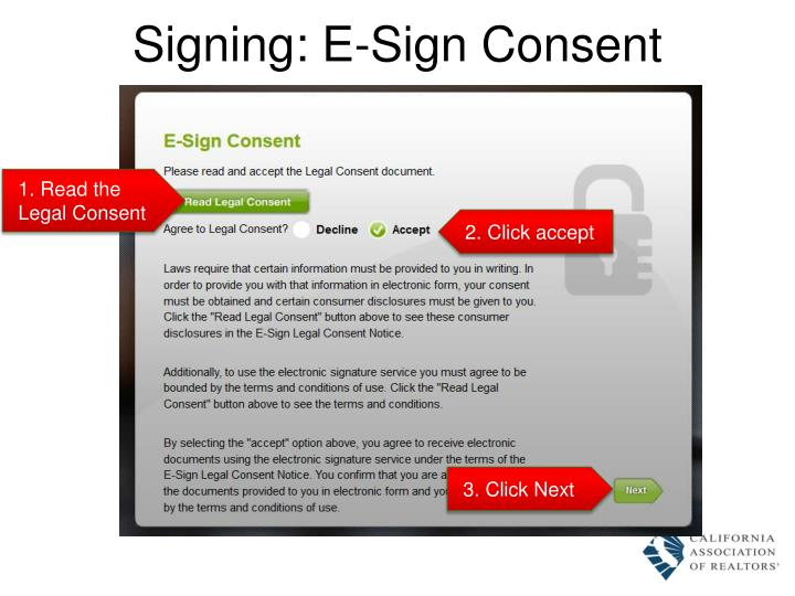 Signing: E-Sign Consent