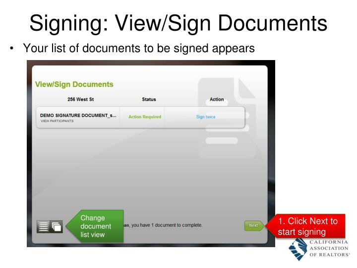 Signing: View/Sign Documents