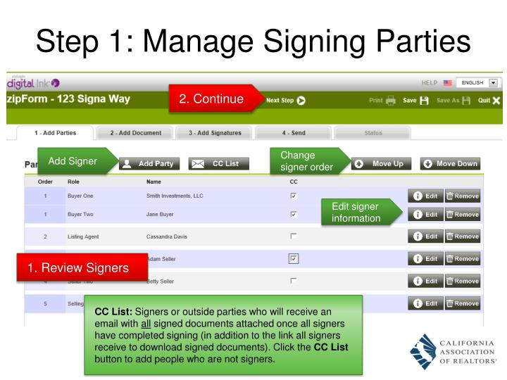 Step 1: Manage Signing Parties