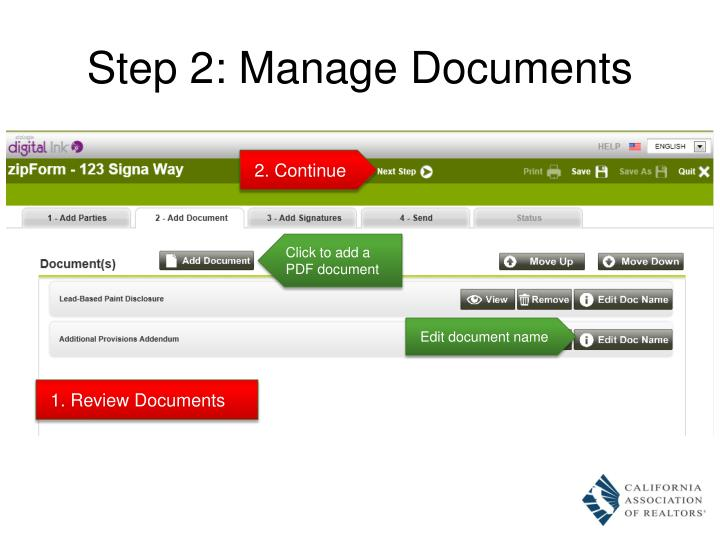 Step 2: Manage Documents