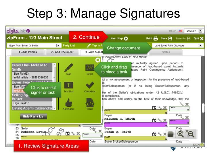 Step 3: Manage Signatures