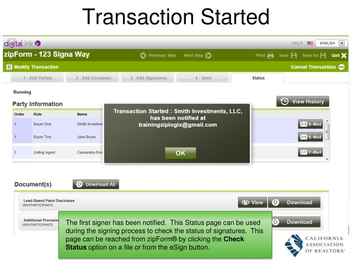 Transaction Started