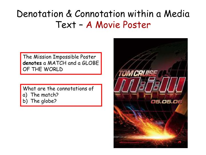 Denotation & Connotation within a Media Text –