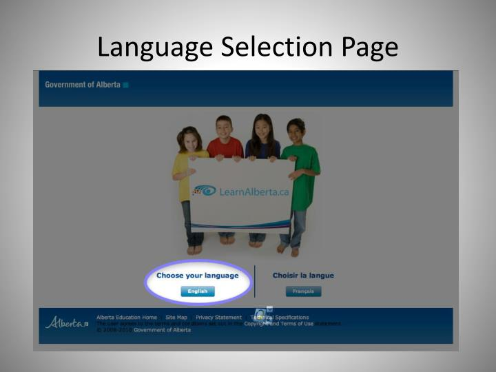 Language Selection Page