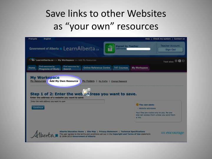 Save links to other Websites