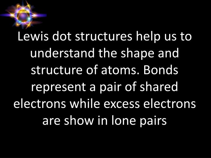 Lewis dot structures help us to understand the shape and structure of atoms. Bonds represent a pair of shared electrons while excess electrons are show in lone pairs