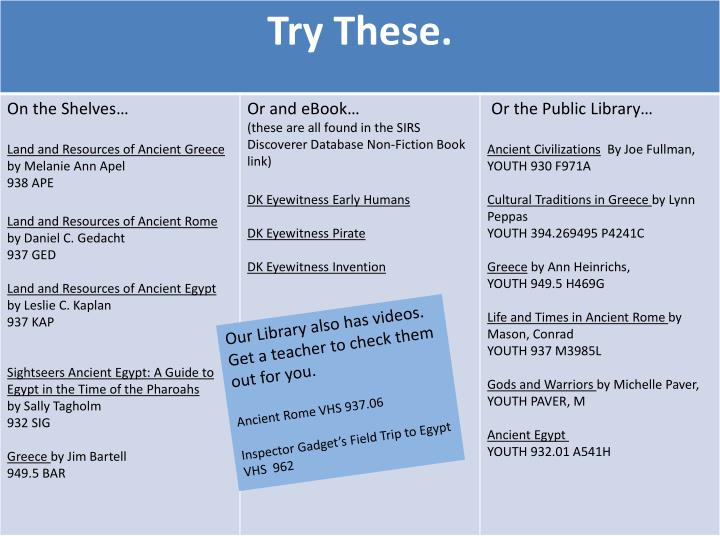 Our Library also has videos. Get a teacher to check them out for you.