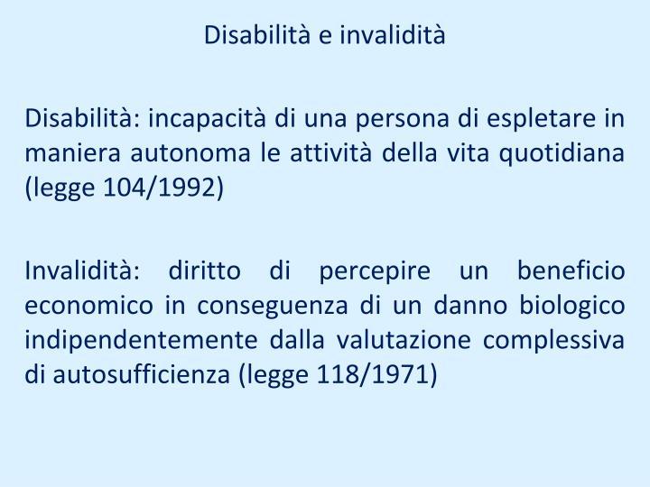 Disabilità e invalidità