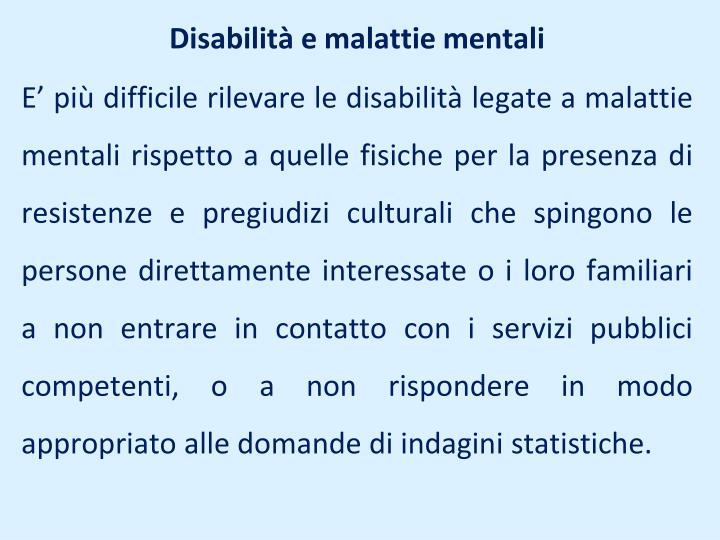 Disabilità e malattie mentali