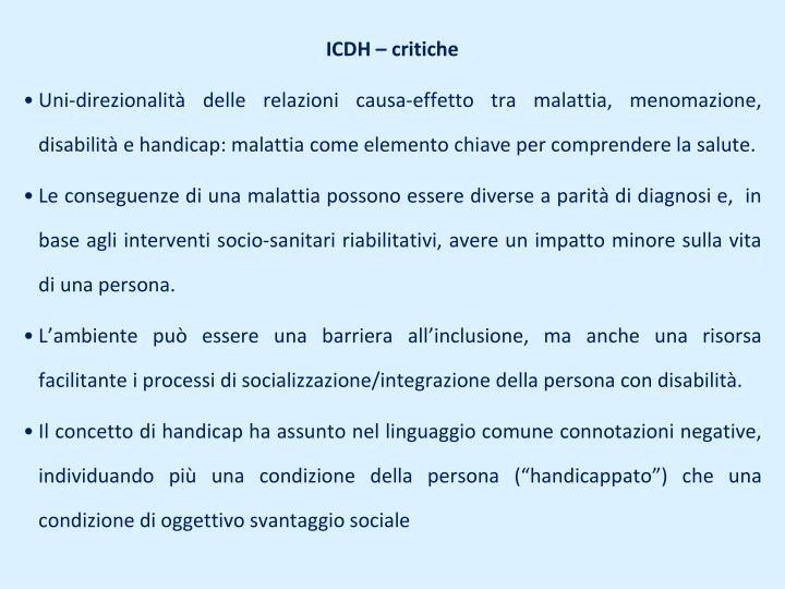 ICDH – critiche