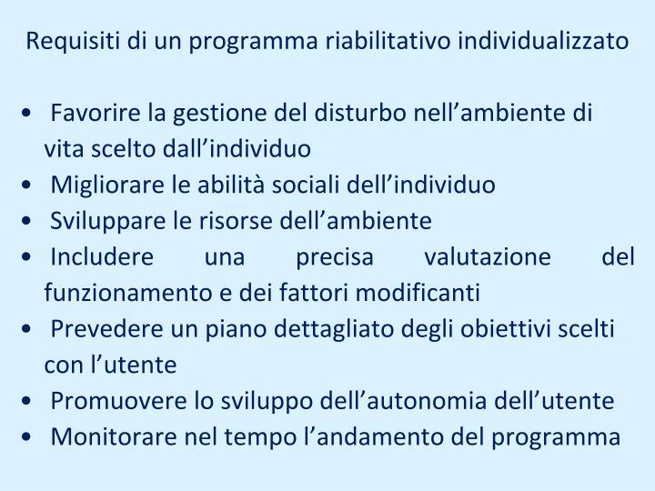 Requisiti di un programma riabilitativo individualizzato