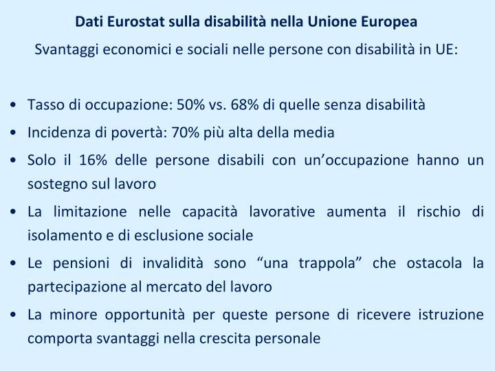 Dati Eurostat sulla disabilità nella Unione Europea
