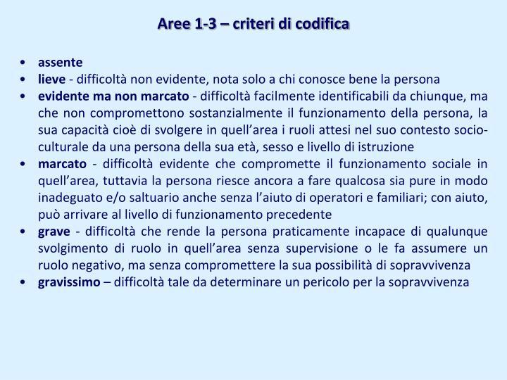 Aree 1-3 – criteri di codifica