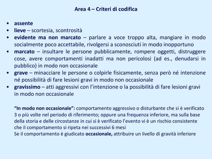 Area 4 – Criteri di codifica