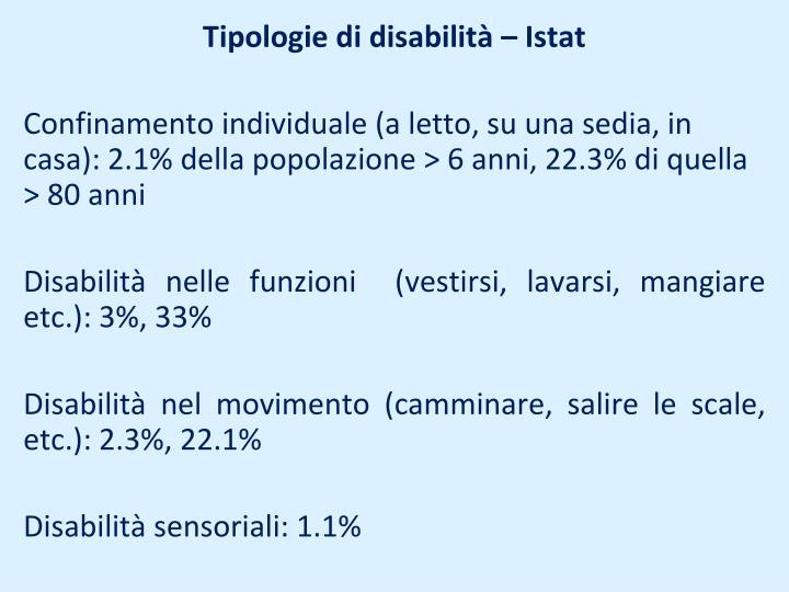 Tipologie di disabilità – Istat