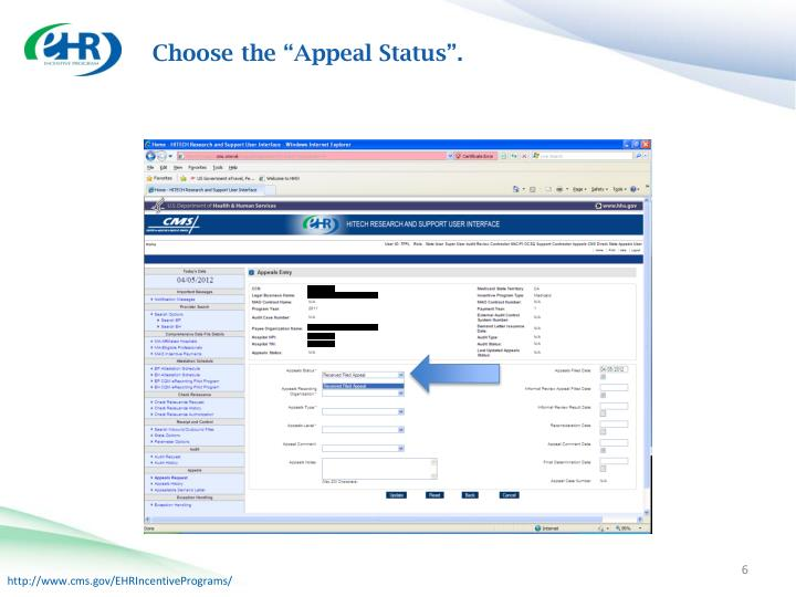 "Choose the ""Appeal Status""."