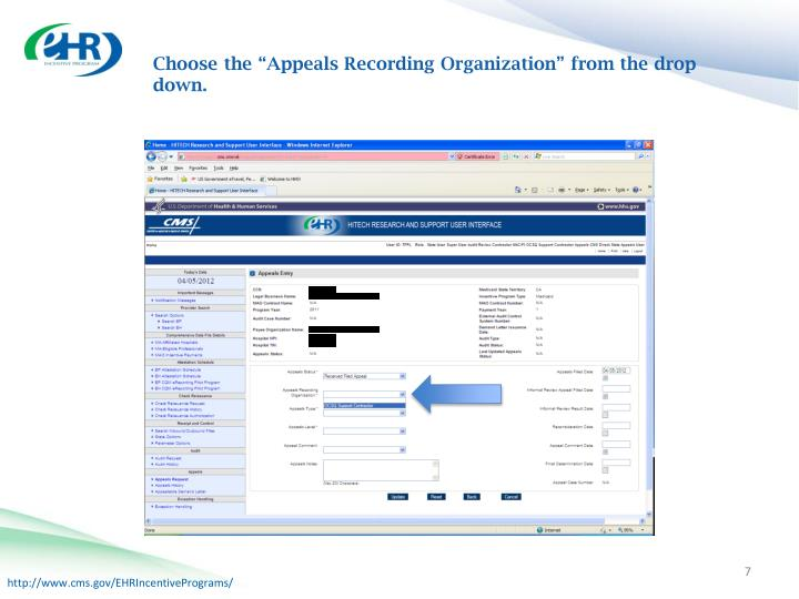 """Choose the """"Appeals Recording Organization"""" from the drop down."""